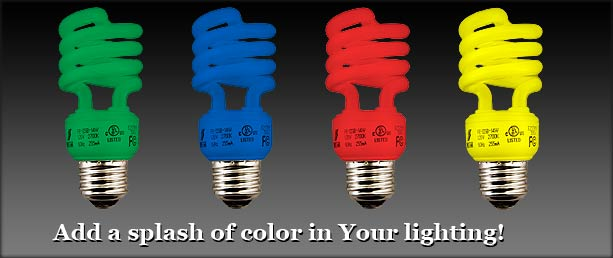 buy colored spiral compact fluorescent light bulbs. Black Bedroom Furniture Sets. Home Design Ideas